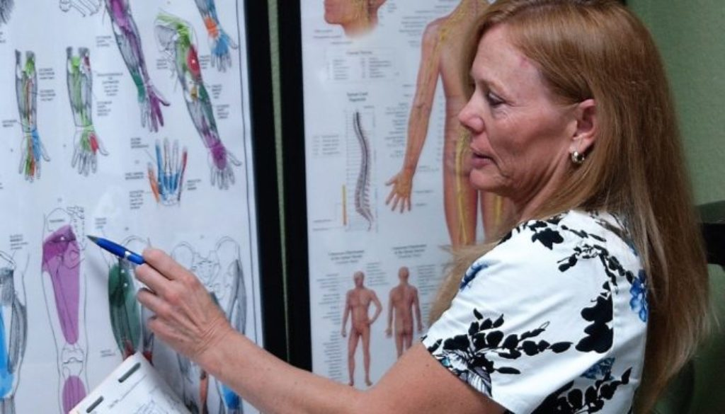 Lorrie with TP and nerve charts
